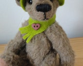 Lou, little artist bear, fall theme green hat and scarf