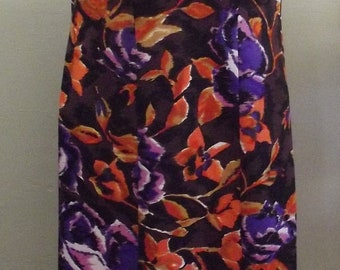 1960s to 1970s Georgeous Hawaiian Maxi Dress, Back Pleating, Brown orange and purple, Size 38/40 Bust, #29000