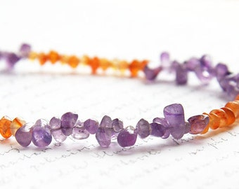 Summer Party Petite Amethyst Necklace Carnelian Necklace Color Block Necklace Thin Sterling Silver Gemstone Birthstone Necklace her gift