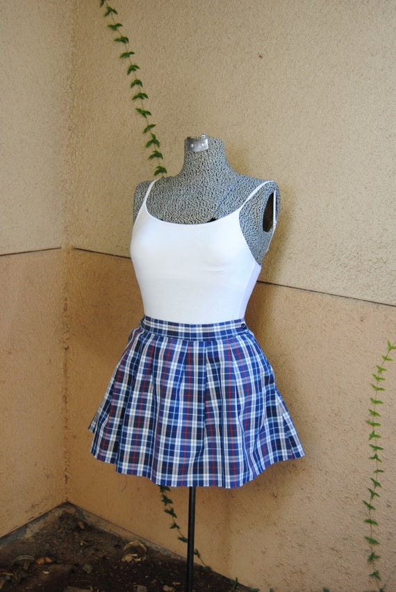 Vintage 1980's Plaid School Girl Mini Skirt