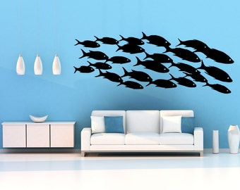 Vinyl Wall Decal Sticker School Of Fish OSMB629s