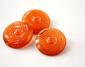 Orange Translucent Vintage Buttons - 1950s- 1960s Plastic Buttons - New Old Stock Buttons - Pumpkin Orange  Buttons - Medium Buttons