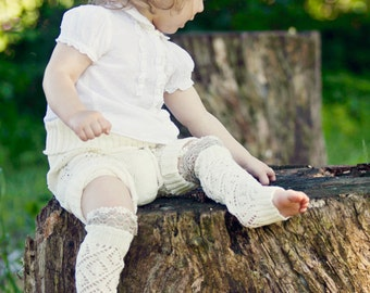 Girls Leg Warmers Lace Leg Warmers Knit Leg Warmers Boot Cuffs off white with white linen ruffle