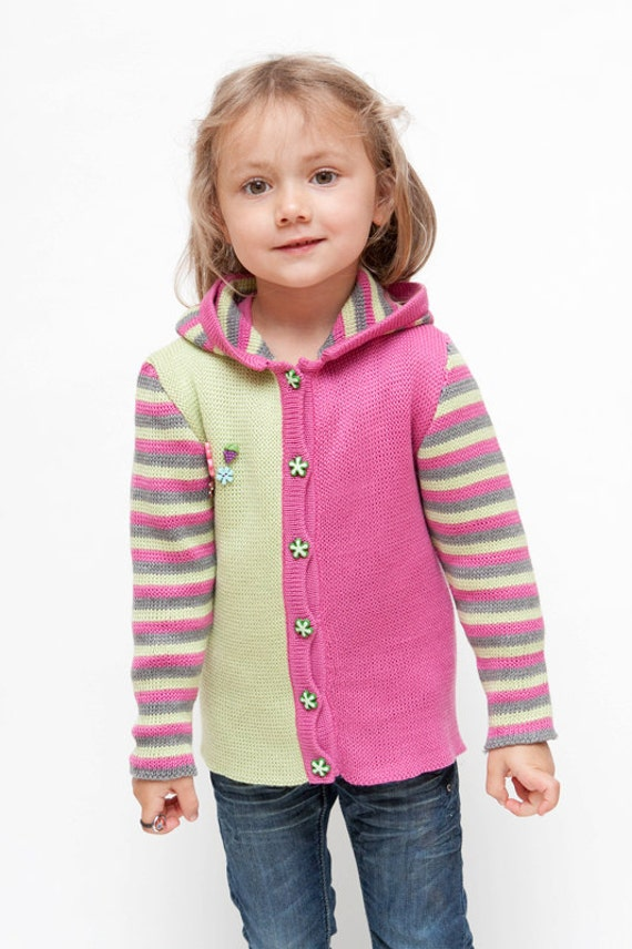 Children clothing - knitted girl's jacket hoodie in pink, light green and gray color OOAK