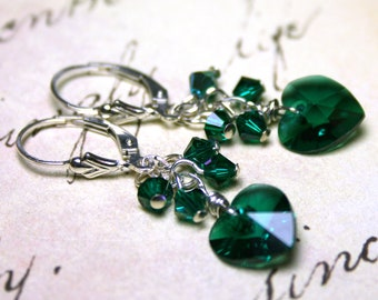 On Sale - The Swarovski Crystal Heart Earrings In Emerald Green - Sterling Silver Lever Backs  - All Sterling Silver