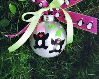 Twins Penguin Ornament - Personalized for Birthday or Christmas - Hand Painted Ornament - Best Friends, BFF, Twins Birth, Nursery Bauble