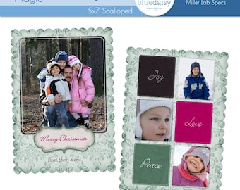 5 x 7 Scalloped Holiday Magic Luxe Card - Photographer Template