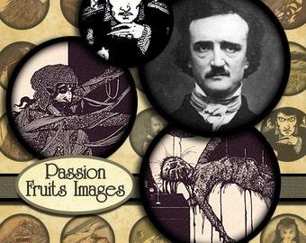 "Antique Edgar Allen Poe Illustrations  Digital Collage Sheet- 1"" Rounds-- Instant Download"