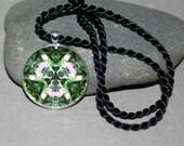 Pendant Necklace Lady Slipper Orchid Boho Chic Mandala New Age Sacred Geometry Hippie Kaleidoscope Lady in Waiting