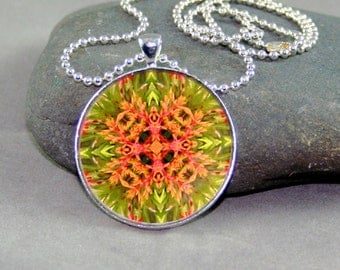 Mandala Pendant Necklace Bromeliad Boho Chic Sacred Geometry Kaleidoscope New Age Modern Hippie Unique Gift For Her Citrus Starburst
