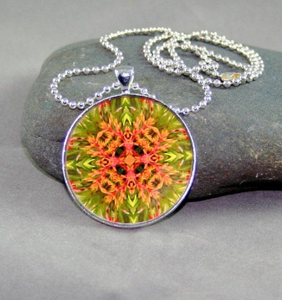 Pendant Necklace Bromeliad Mandala Boho Chic Sacred Geometry Kaleidoscope New Age Modern Hippie Unique Mod Flower Lover Citrus Starburst