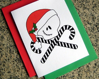 jack skellington inspired skull and crosscanes cards / notecards / thank you notes (blank/custom printed) with envelopes - set of 10