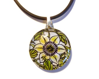 Pale Yellow Clematis Round Glass Pendant and Black Rubber Necklace