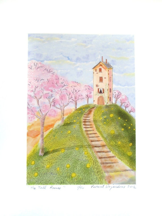 Tall Skinny House and Cherry Trees Print