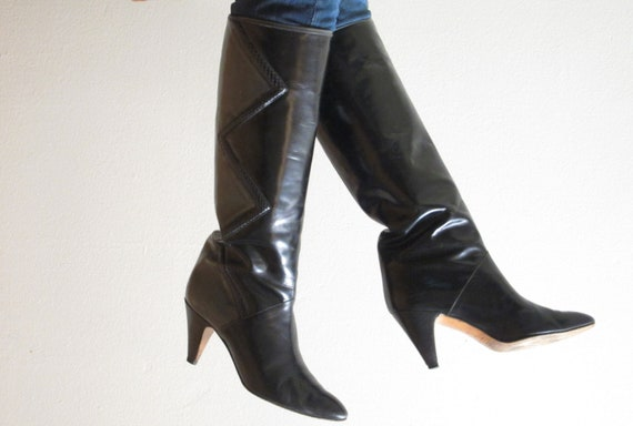Vintage 1980s Leather Knee Boots / 80s Boots in Black and Grey w/ Snakeskin Trim / Size 6 1/2 or 7