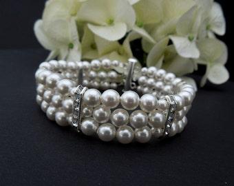 Bridal Pearl Bracelet, Ivory Swarovski Pearls, Classic bridal Bracelet, Bridal Cuff, Bridesmaid Bracelet, Classic Bridal Bracelet, FRANCESCA