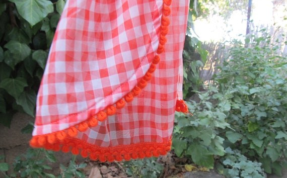 orange tangerine cafe curtains, polyester gingham sheer panels