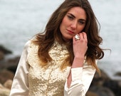 Mara, French Vintage, Cream and Gold Sequin Shirt from Paris