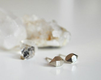 Faceted Crystal Stud Earrings in Sterling Silver Geometric Herkimer Diamond Rough Minerals