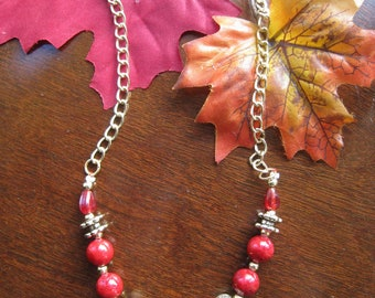 Deep Red and Golden Beaded Necklace