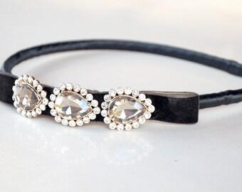 velvet bow headband with rhinestones: coraline