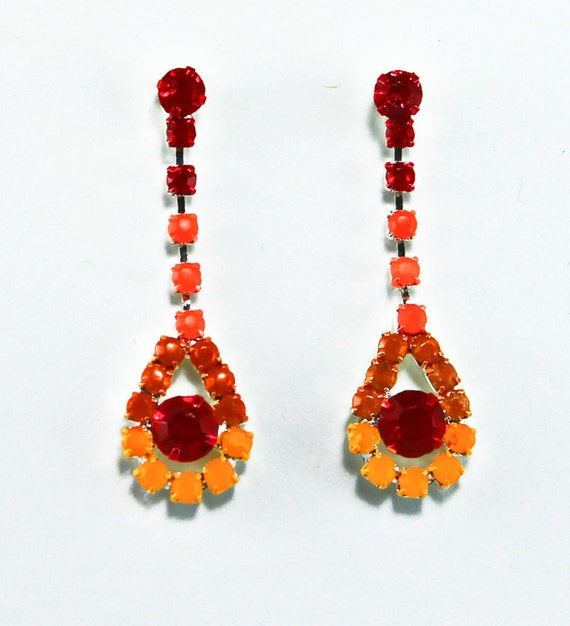 Neon Hand Painted Rhinestone Earrings in Red Orange and Yellow