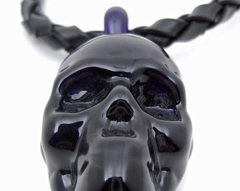 Flameworked Glass Skull Necklace by Bashi Alé
