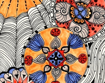 MODERN Fine Art Print Reproduction 5x7 black ink and acrylic painting blue gray ochre red by devikasart