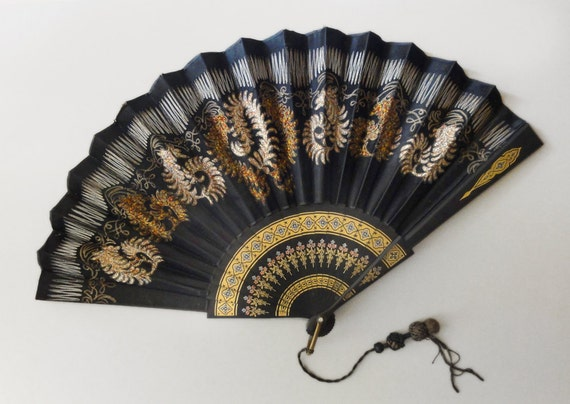 Antique Black Silk Embroidered Folding Eventail Fan