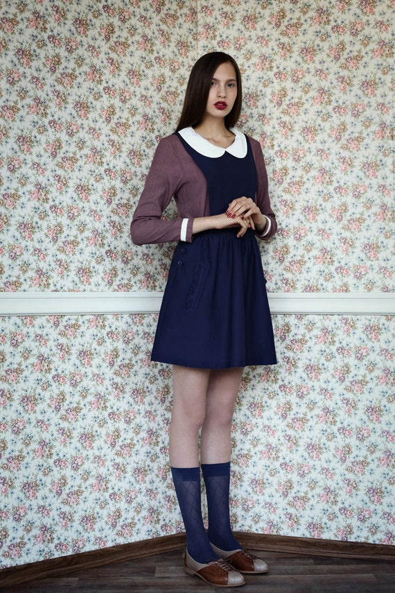 Sale 40% off, Pinafore dress, Blue dress, Jumper dress, Womens dress, Navy dress, Blue pinafore dress, Blue jumper dress