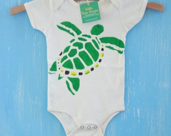 green sea turtle, organic hand painted onesie or little t-shirt, customizable