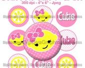 "Lemonade Cutie Bottle Cap 1"" Circles Images - Round Scrapbook Collage Pendent Bow Center Cupcake Topper - NO.194"