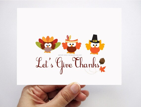 Thanksgiving Card set, Let's Give Thanks, adorable autumn Pilgrim, Indians and turkey owl card A311