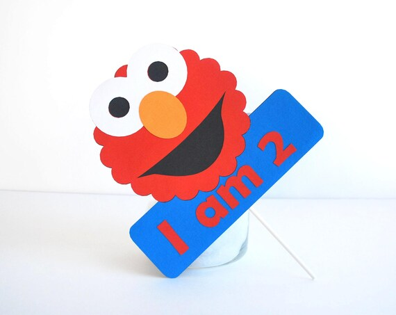 Elmo Birthday Party Ideas to create the perfect Elmo Birthday Party by MariaPalito: Elmo Centerpiece, I am AGE Centerpiece Elmo inspired - Red and Blue party , do not include cupcake toppers A477