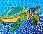 50% Off Code ACORN50 - Sea Turtle Art - Art Poster Print of painting by Heather Galler - Modern Folk Art Ocean (HG825)