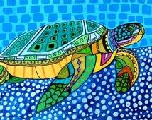 Sea Turtle Art - Art Poster Print of painting by Heather Galler - Modern Folk Art Ocean (HG825)