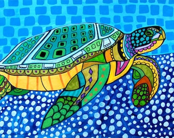 Sea Turtle Art - Art Poster Print of painting by Heather Galler - Modern Folk Art Ocean (HG825)