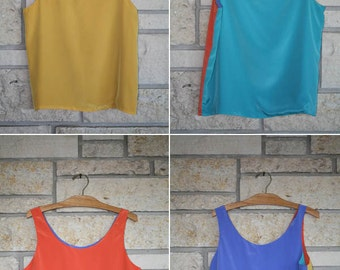 Vintage Colorblock Tank Top • Four way Reversable Neon Tank Top • Teal Yellow Orange Blue