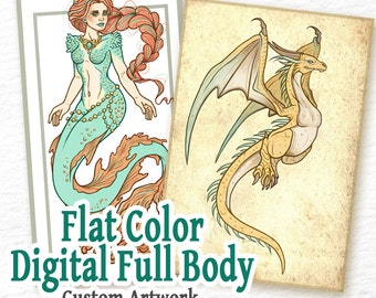 COMMISSION: Digital Flat Color - 1 Full Body Character - Custom Art, Commissioned Art, Tattoo Design