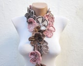 Autumn Color, Crochet Floral Scarf, Lariat neck accessories, Lariat Scarves, Crocheted Necklace, Fall Flower Jewelry, Pink, Brown, Cream