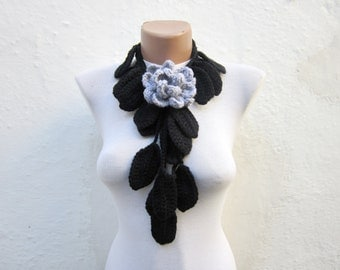 Crochet Necklace Scarf,Flower Lariat Scarf,Black Grey Scarf,Lariat,Brooch pin
