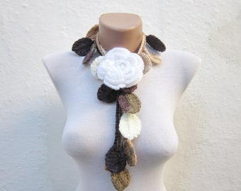 Autumn Fall Leaf Scarf, Floral White Brooch Pin, Crochet Scarves, Lariat Scarf, Leaves Necklace, Crocheted Woman Jewelry, Christmas Gift