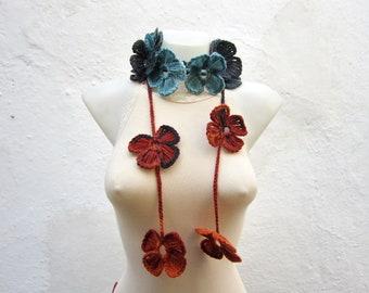 Lariat Crochet Jewelry,Crochet Lariat Scarf, Flower Necklace