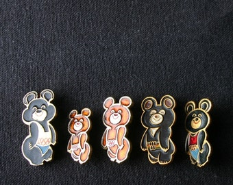Moscow Olympics vintage Misha bear pins instant collection