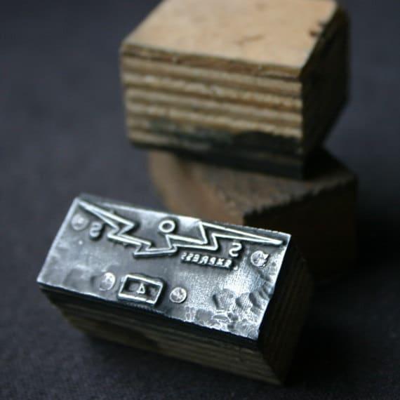 SOS Express. Vintage letterpress block.