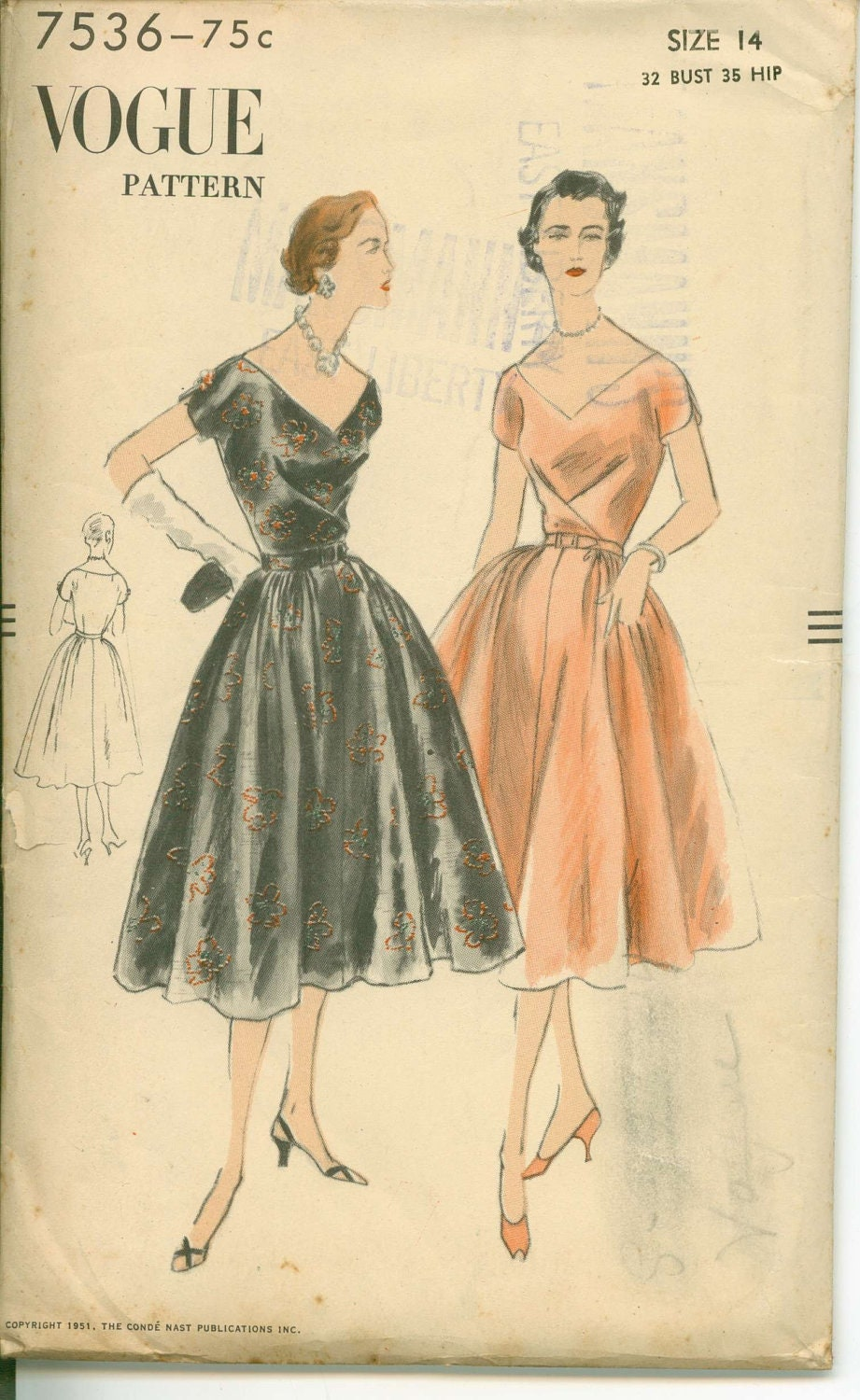 1950s Vintage Sewing Pattern Beautiful Cocktail Dress