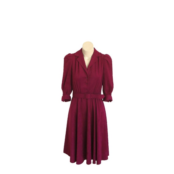 1930s Style Dress / 80s Cranberry Red Oxblood Dress / XS / S