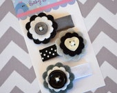 Felt flower baby snap clips, set of 3 - Black and white hair clips