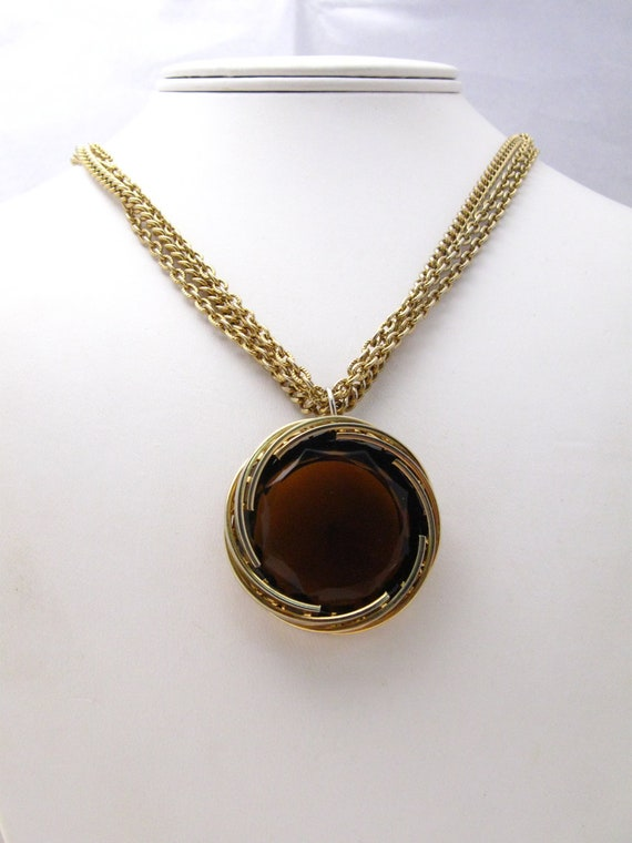 Vintage Multi Chain Marvella Pendant Necklace with HUGE Glass Pendant 1960's