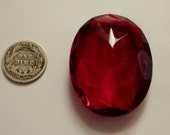 Vintage Double Faceted 40x30mm Siam Red Glass Jewel for Stained Glass and Jewelry